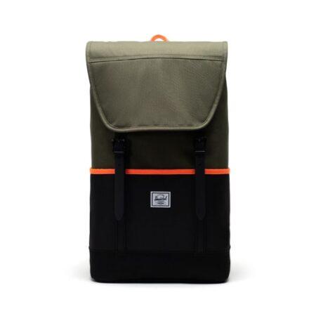Herschel Supply Co Retreat Pro Backpack in Ivy Green/Black/Shocking Orange