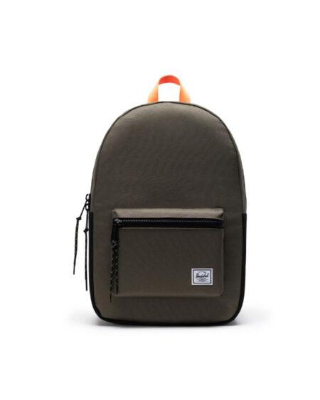 Herschel Supply Co Prusikpop Settlement Backpack in Ivy Green/Black/Shocking Orange