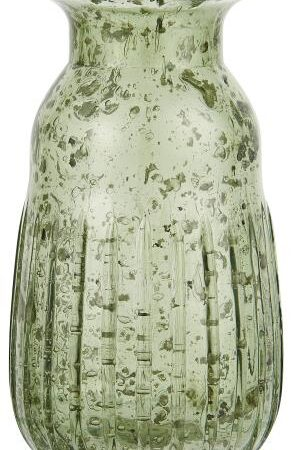 Hyacinth Pebbled Glass Vase in Moss Green